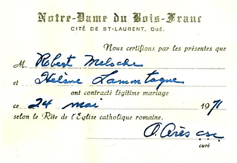 1971 - Certficat mariage